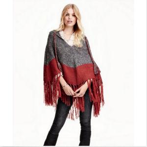 H&M Autumn Fall Winter Hooded Poncho Cape Shawl OS